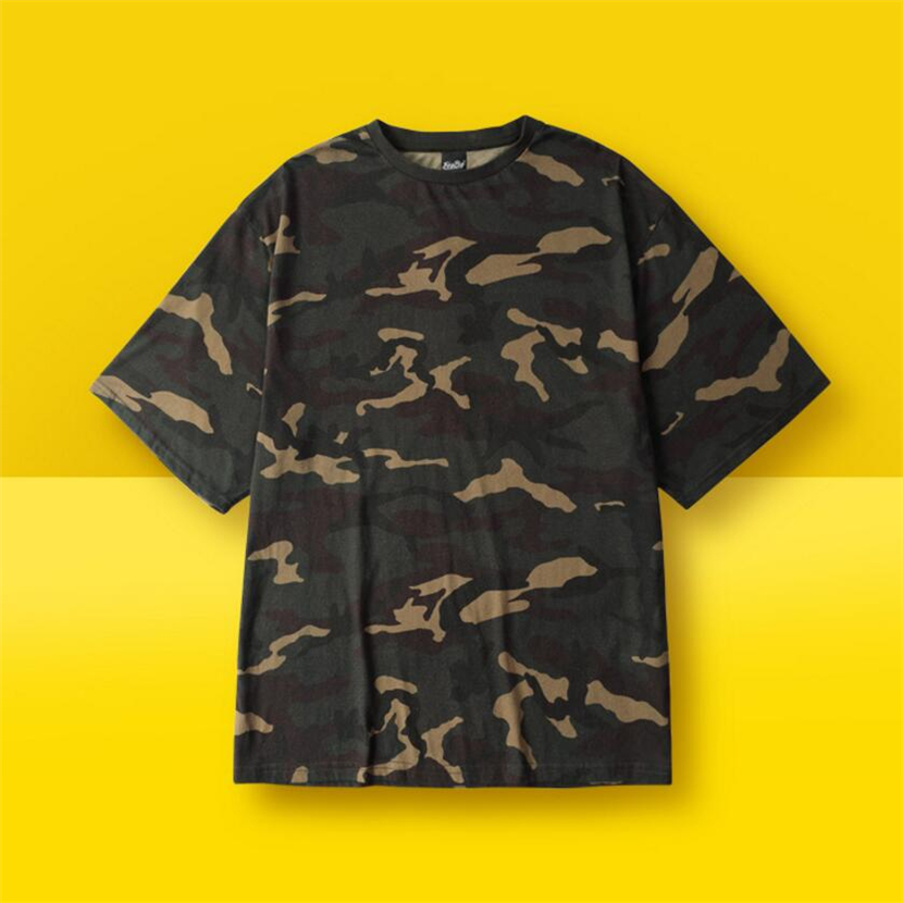 Punk Rock Camouflage Skateboarding Shirts Kortärmad Streetwear Tees Skateboard Sportswear Kläder Solid Men's TEE