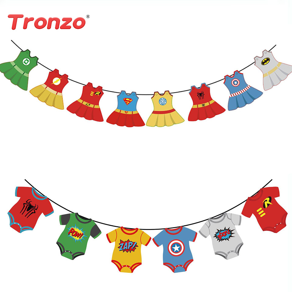 Tronzo Birthday Bunting Banner Super Hero Boy Girl