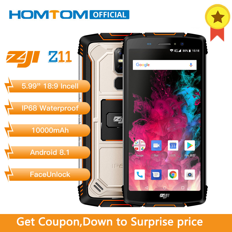 HOMTOM ZOJI Z11 IP68 Waterproof Dust Proof 10000mAh Smartphone 4GB 64GB Octa Core Cell Phone 5.99″ 18:9 Face ID 4G Mobile Phone