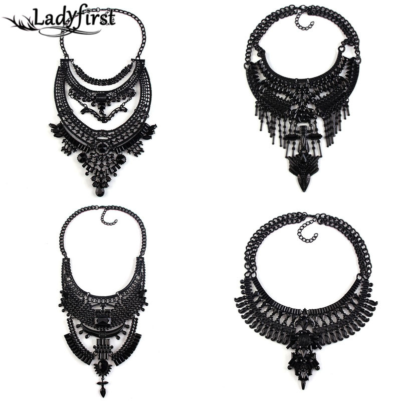 2016 All Black Boho Statement Luxury Crystal Vintage Maxi Necklaces Pendants Ethnic Metal Rhinestones Choker Necklace