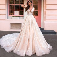 Vintage Lace Wedding Dress Vestido de Novia Lace Sheer Bridal Gowns Robe mariee 2019 Gelinlik Casamento Champagne Wedding Dress