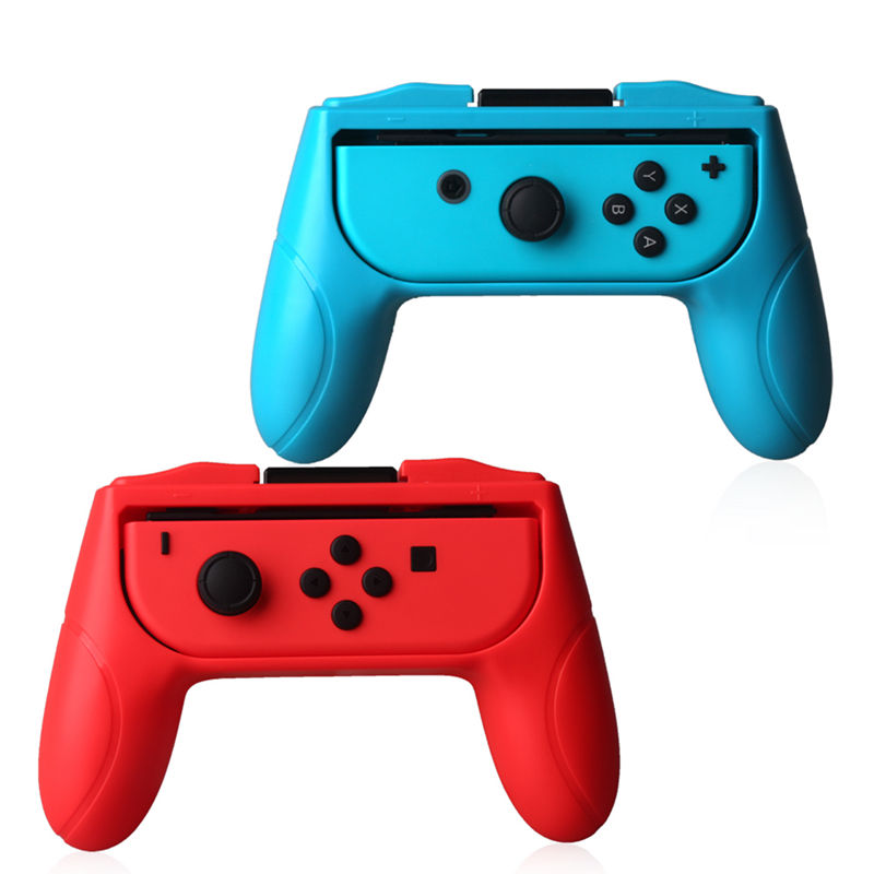 1 Set Left + Right ABS Hand Grip Stand Holder Simply Insert For Nintend Switch For NS Joy-Con Controller Hand Grip Red + Blue