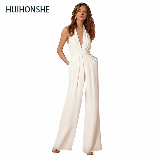 a64aa57052b1e US $18.62 19% OFF|HUIHONSH summer Women Jumpsuit Rompers fibers polyester  girl Sexy Solid OL Deep V Neck Sleeveless Cocktail Party Jumpsuit Romper-in  ...