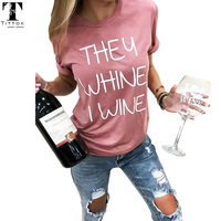 2017 New Arrivals Casual Pink Letter Print Short Tees Women Tops