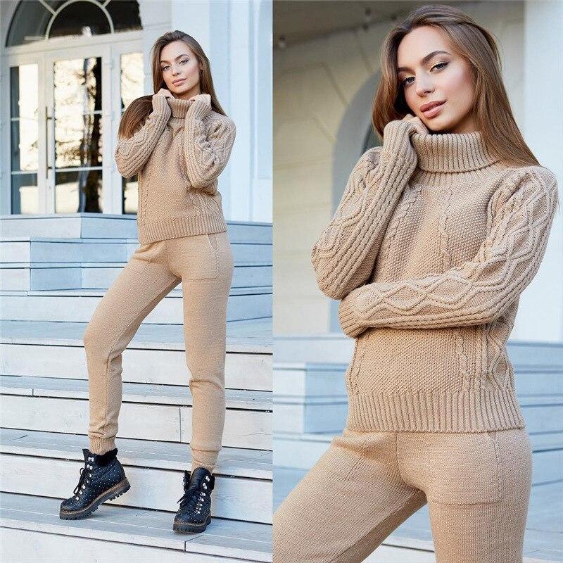 Collection printemps 2018 ruée limitée dans le temps 2019 pull en filet et pantalon tricoté pour femmes deux pièces tenues deux pièces pour femmes
