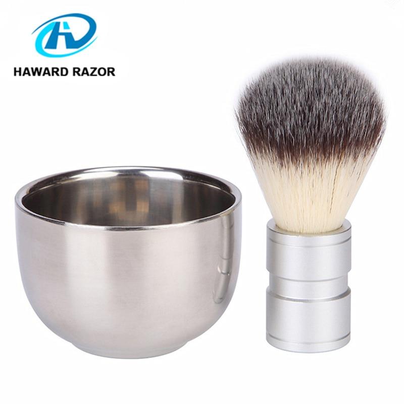 HAWARD RASOIO 2 pz/set Combinazione Da Barba degli uomini, 1 di Nylon e Peli di Tasso Pennello Da Barba Manico In Metallo, 1 rasatura Ciotola
