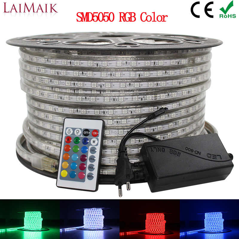 LAIMAIK RGB LED Strip Licht 5050 Waterdichte IP67 AC 220V rgb lights 60 leds/m 5050SMD Met draadloze controller plug led verlichting