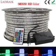 LAIMAIK RGB HA CONDOTTO LA Luce di Striscia 5050 Impermeabile IP67 AC 220V rgb luci 60 leds/m 5050SMD Con wireless spina regolatore di illuminazione a led