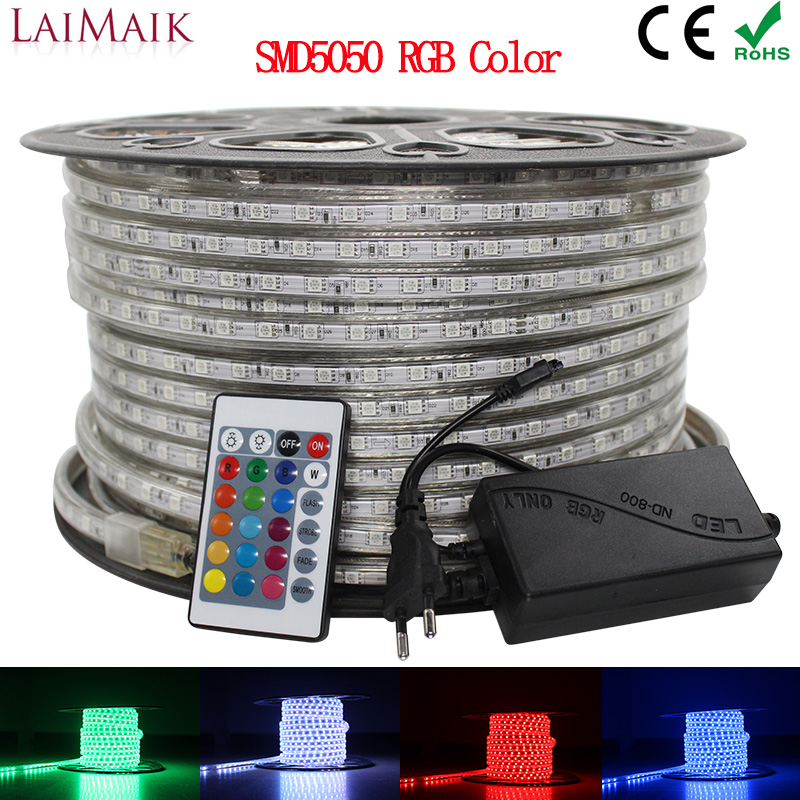 LAIMAIK RGB LED Strip Light 5050 Waterproof IP67 AC 220V Rgb Lights 60leds/m 5050SMD With Wireless Controller Plug Led Lighting