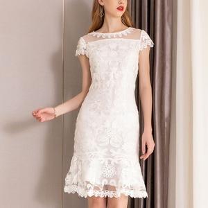 Image 3 - 2019 summer new women elegant Dress short Petal sleeve O neck bag hip sheath Embroidery lace Dress vestidos de verano