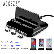 !ACCEZZ Magnetic Charger Phone Holder Quick Charging Lighting Micro USB Type C For iPhone Xiaomi Samsung Magnet Desk Stand