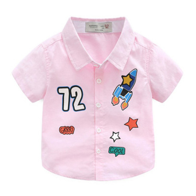 c2b7c086 Kids Shirts Tops Baby Boy Solid Casual Shirt Child Fashion Tee Coat Casual  Summer Clothes Embroidery Print Number Rocket Star-in Blouses & Shirts from  ...