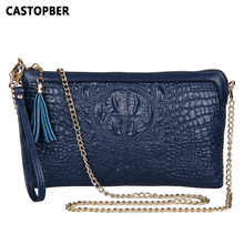 Fashion Crocodile Pattern Chain Women's Messenger Bag Handbag Leather Handbags Split Leather Clutches Bags For Women Quality Bag