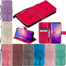 Luxury Leather 3D Embossed Cat Tree Flip Wallet Soft Silicone Phone Case Cover Shell Hull Coque Fundas for Sony Xperia XA3 XZ3