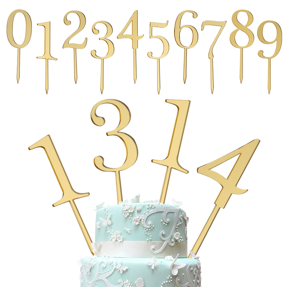 6pcs/set New Gold Number 0 1 2 3 4 5 6 7 8 9 Birthday Cake Topper Acrylic Golden Children Birthday Annivesary Party Decoration