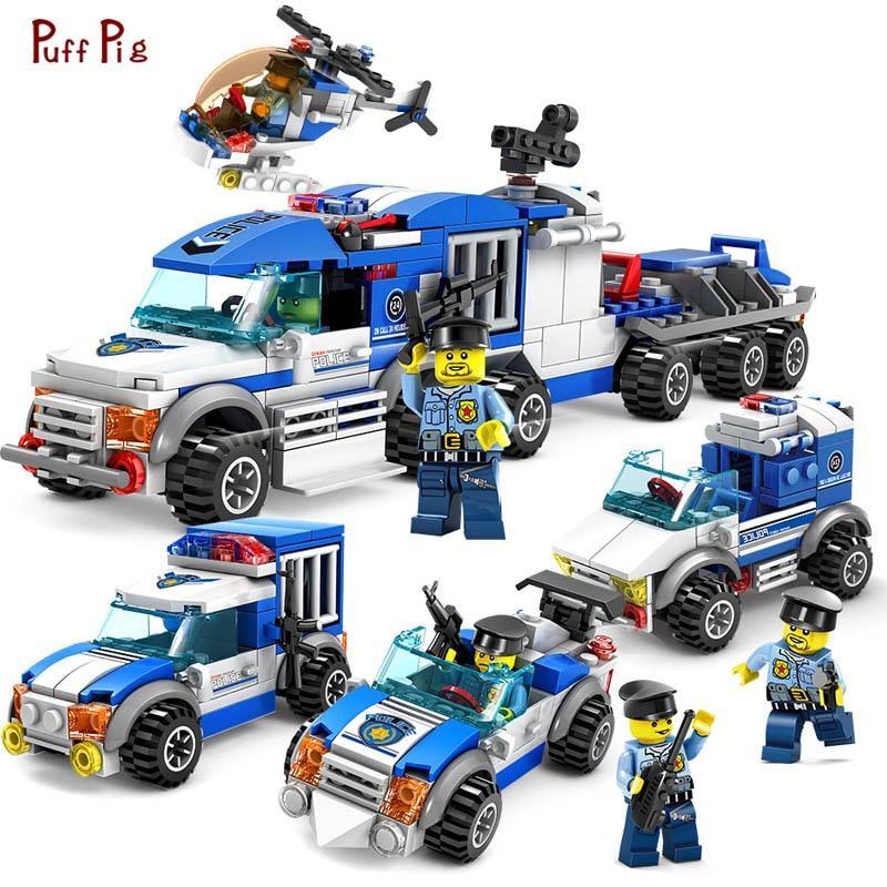 4 In 1 Police Swat Building Blocks Enlighten Bricks Toys Compatible Legoed City Toys Educational Bricks Toys For Children Gift Model Building Kits