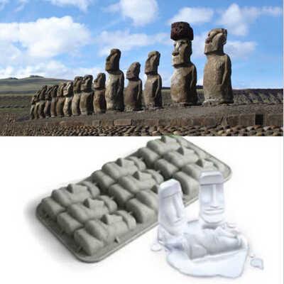 Yeni Paskalya Adası Moai Taş Heykelleri buz kalıbı Küpleri DIY Kalıp Yaz Mini Silikon Kek Kalıbı