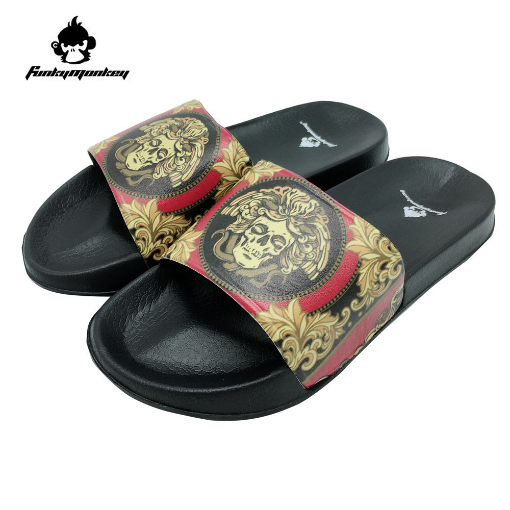 FunkyMonkey Mens Fashion Skull Slippers Cool Flat  Ethnic Style Men Shoes