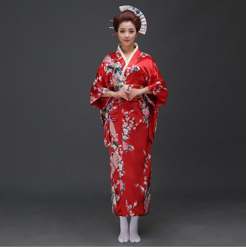 Màu đỏ truyền thống phụ nữ Silk Satin Kimono Yukata với Obi biểu diễn khiêu  vũ váy Nhật Cosplay Costume Flower One Size JK070 yukata obi yukatared  yukata - AliExpress