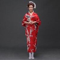 Red Traditional Women Silk Satin Kimono Yukata With Obi Performance Dance Dress Japanese Cosplay Costume Flower One Size JK070