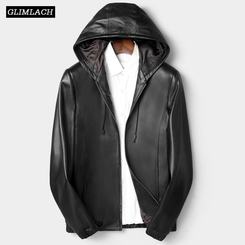 Us 1560 35 Offplus Size L 4xl Hat Real Sheepskin Pilot Jacket Mens Fashion Black Genuine Leather Bomber Jacket Men Hooded Zipper Male Clothes In