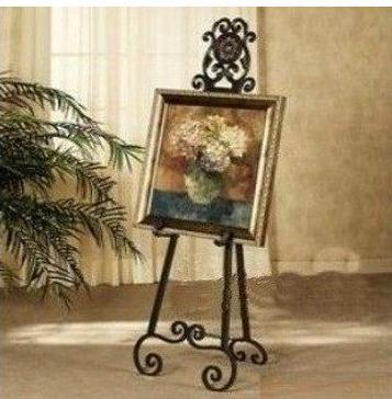 Wrought Iron Floor Easel Painting Frame Display Shelf Photo Frames Wedding Carriage