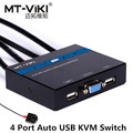 MT-Viki 4 Port Auto Smart USB VGA KVM Switch with Remote Extension Switcher Built-in Cable High Resolution Hotkey PC Selector