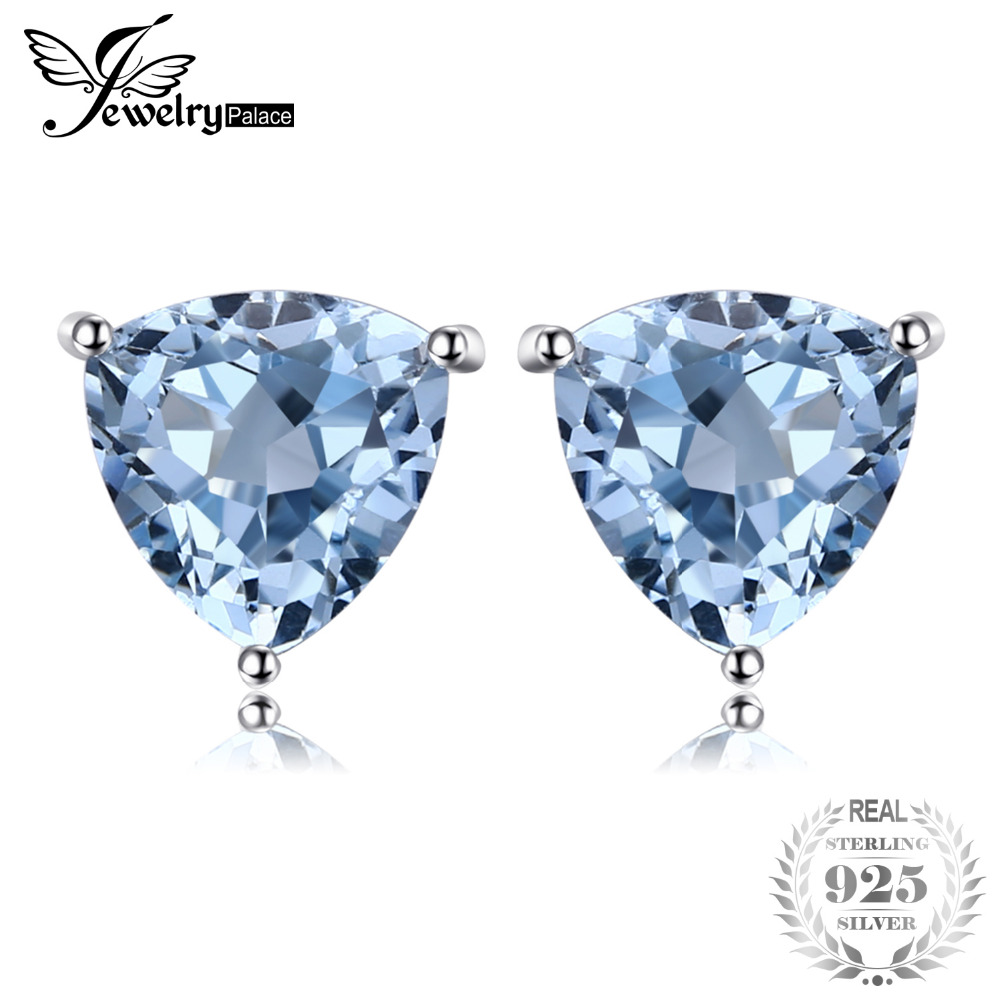 JewelryPalace Natural Sky Blue Topaz Stud Earrings 925 Sterling Silver New Fashion Accessories On Sale For Women As Gifts new pure 925 sterling silver stud earrings women s starry sky earrings