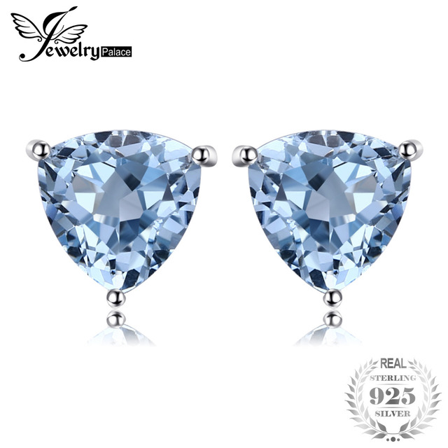 JewelryPalace Natural Sky Blue Topaz Stud Earrings 925 Sterling Silver New Fashi