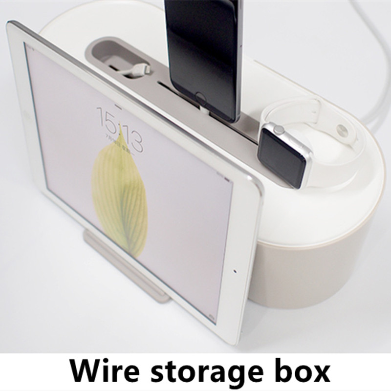 Multifunctional 3 in 1 Wire Storage Box Board Power Socket Vertical Charge for iPad iPhone Safety Socket Outlet Board