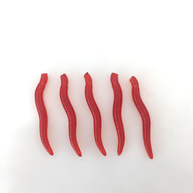 Selling 30Pcs / lot 0.6g 3.5cm Artificial Red Rubber Soft  Bait Smell To Attract Head  Worm Loach Bait Fishing Carp Accessories