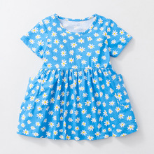 Little Maven New Summer Kids Clothing Short-sleeved Chrysanthemums Printed O-neck Knitted  1-6yrs Cotton Girls Casual Dresses