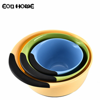 3Pce/set Kitchen Dinnerware Sets Round Rainbow Plate Plastic Plate Fruit Salad Plates Flour Mixing Bowl Dish Capacity 1.4 4.7L