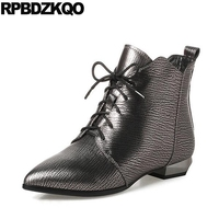 Pointed Toe Big Size 10 Booties Women Designer Metallic Front Lace Up Casual Ankle Boots Autumn