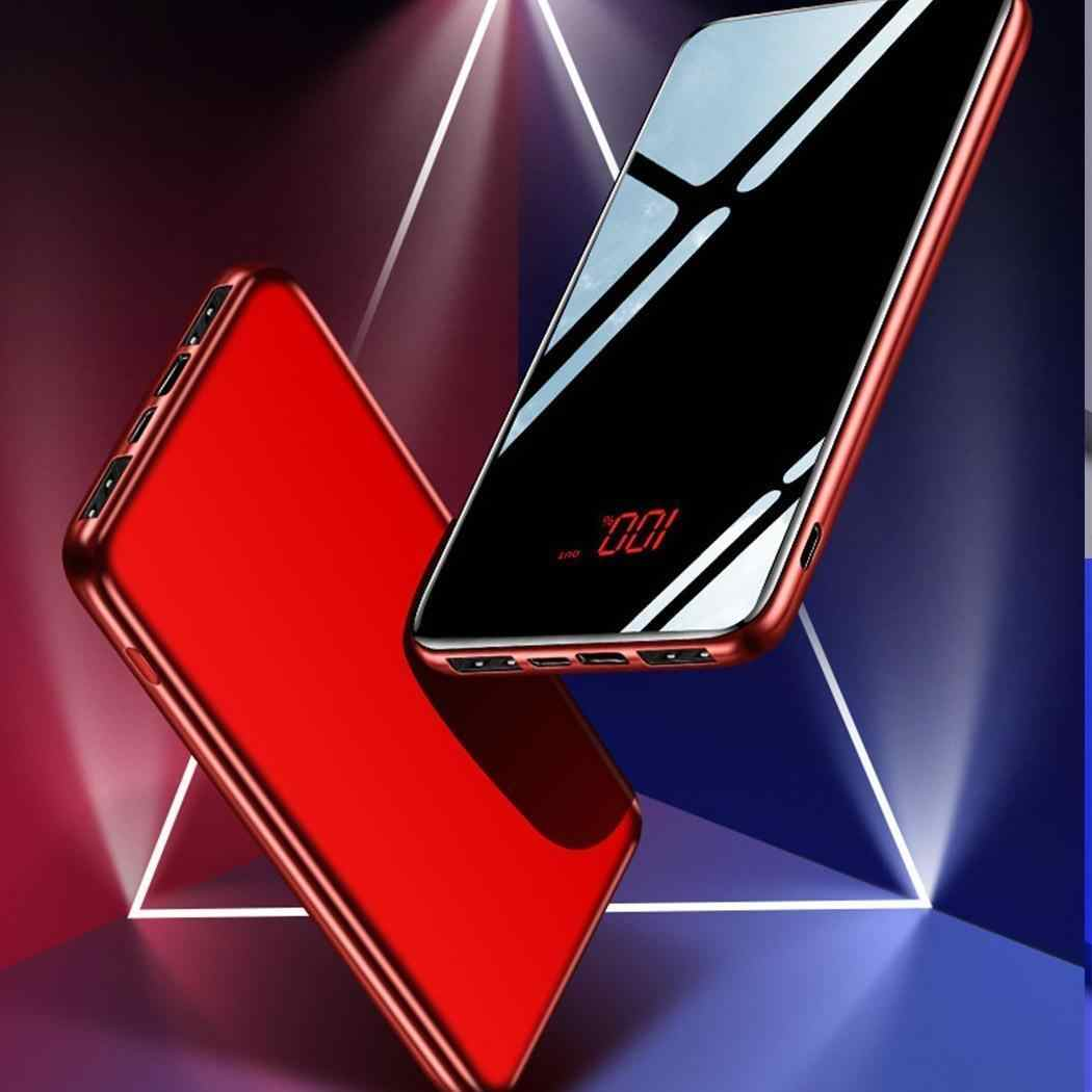 30000mAh type-c Power Bank Mirror Portable Fashion LED telefony komórkowe ładowanie zewnętrzne Pack powerbank do iphone'a Xiaomi Samsung