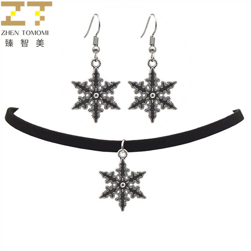 2018 Fashion Black Velvet Leather Bijoux Vintage Retro Snowflake Choker Necklace/Drop Earrings Women Jewelry Sets Trendy Party