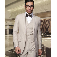Men's suits Custom Made wedding suits mens Tuxedos Jacket+Pants+Vest Beige mens suits two buttons best men suits