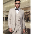 italian Custom Made wedding suits mens Tuxedos Jacket+Pants+Vest Beige mens suits two buttons best men suits