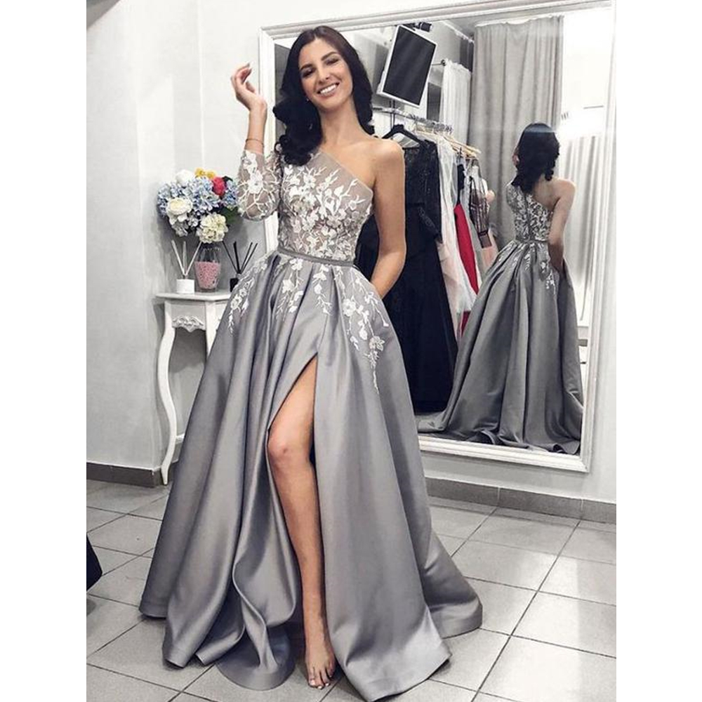 One Shoulder Prom Dresses Floor Length A Line Satin Quarter Sleeves Front Split Evening Formal Party Dress Vestido De Fiesta