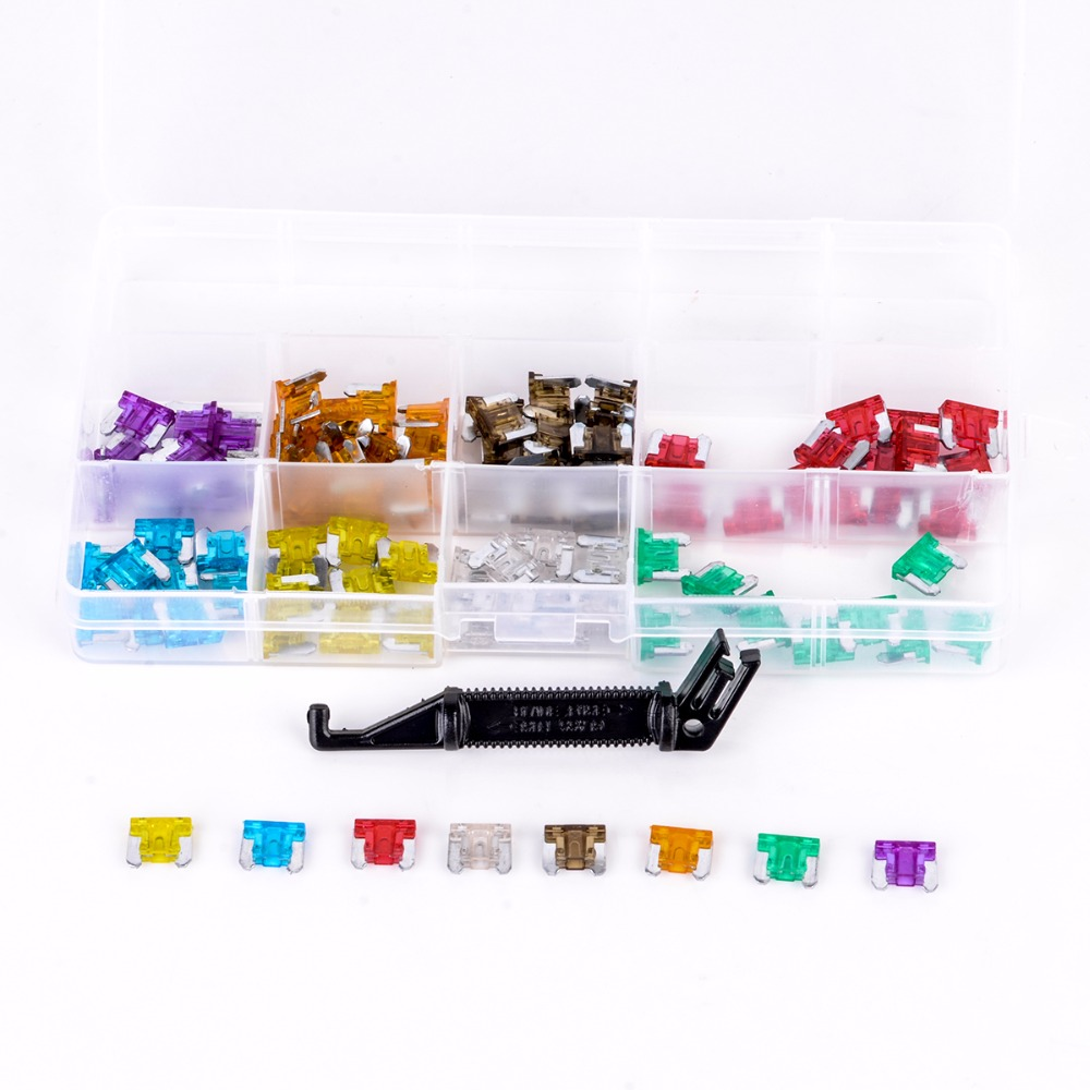 100pcs New Micro Auto Car Mini Blade Fuses Assortment Kit with Black Puller 3A 5A 7.5A 10A 15A 20A 25A 30A mini blade fuse assortment auto car motorcycle suv fuses kit apm atm 5a 10a 15a 20a 25a 30a 35a regular size blade