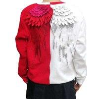 Для женщин кофты вышивка Крылья перья в длинный абзац хеджирования круглый вырез горловины свободные кофты женские модели пару
