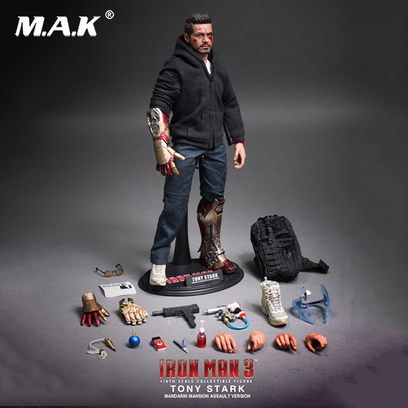 With damaged Head sculpt MMS209 1/6 scale Iron Man 3 Tony Stark (The Mechanic) Collectible Figurine Specification Box Set hot toys hottoys ht mms209 1 6 iron man model tony stark the mechanic collectible figure specification new box in stock