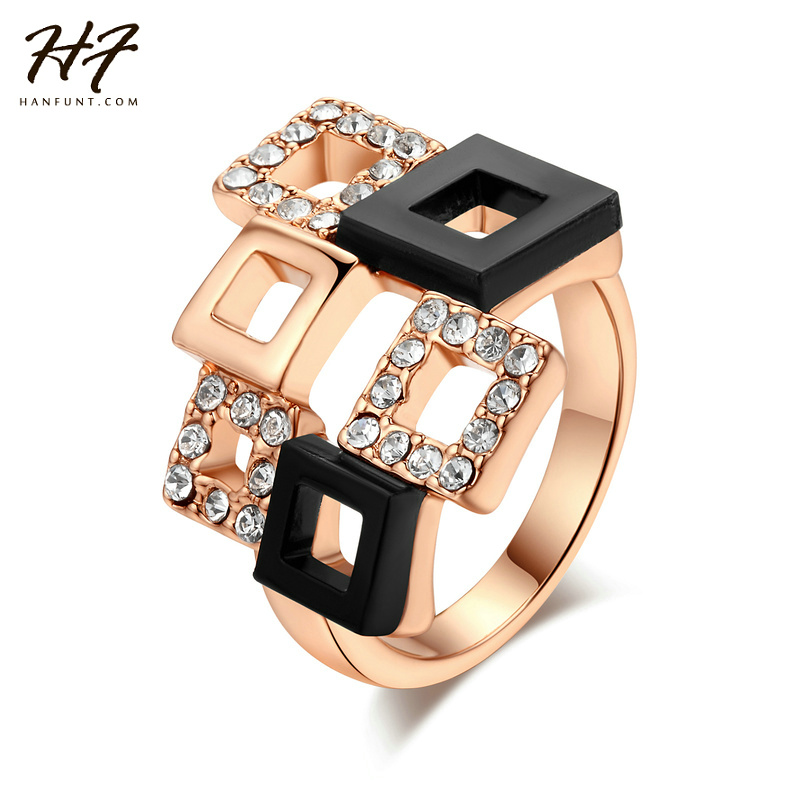 AAA+Cubic Zircon Rings Wholesale Rose Gold Color Fashion Brand Party Crystal Retro Jewelry For Women anel anei R091