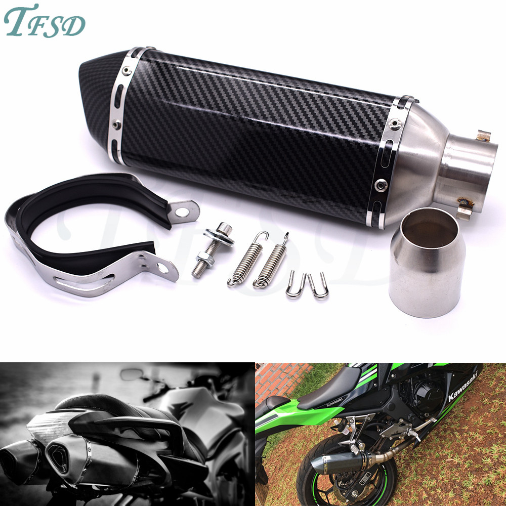 36-51mm Universal Motorcycle Akrapovic Exhaust Modified Muffler Pipe for Honda VFR800 CBR1100XX BLACKBIRD ST1300 ST1300A