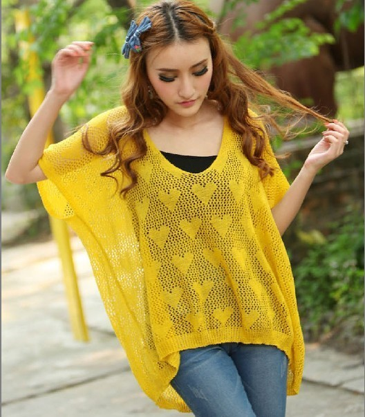 Heart Pattern Cutout Sweater Crochet Loose Shirt Thin Female 119 In