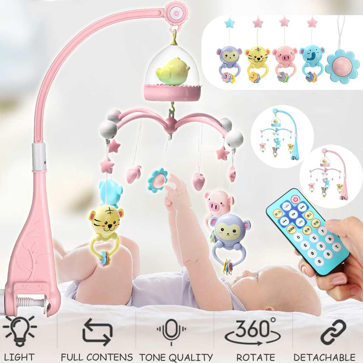 Apprentissage précoce des jouets pour enfants 0-24 mois berceau Mobile lit Musical cloche avec Animal hochets Projection dessin animé jouet