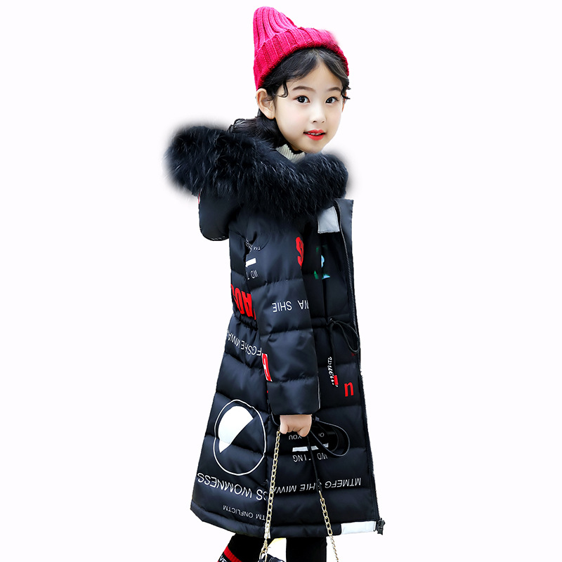 Girl child winter jacket in the long section of the girl wearing casual children's clothing thickening fur cap Parker coat 6-16Y the casual vacancy