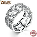 BAMOER Genuine 100% 925 Sterling Silver Vivid Tree Leaves DIY 2 pcs Finger Ring Women Fashion Jewelry Party SCR009