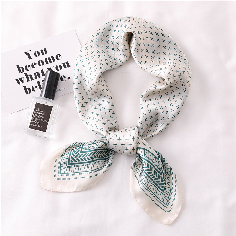 Women Scarf Dot Print Foulard Scarves Silk Shawl for Ladies Square Hair Scarf Ring Fashion Head Scarfs in Women 39 s Scarves from Apparel Accessories