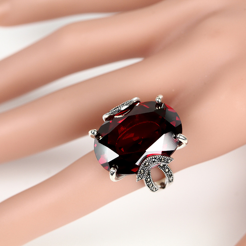 Fashion 925 Silver Ring Synthetic Cubic Zircon Red Corundum Stone 100 Pure S925 Sterling Solid Silver